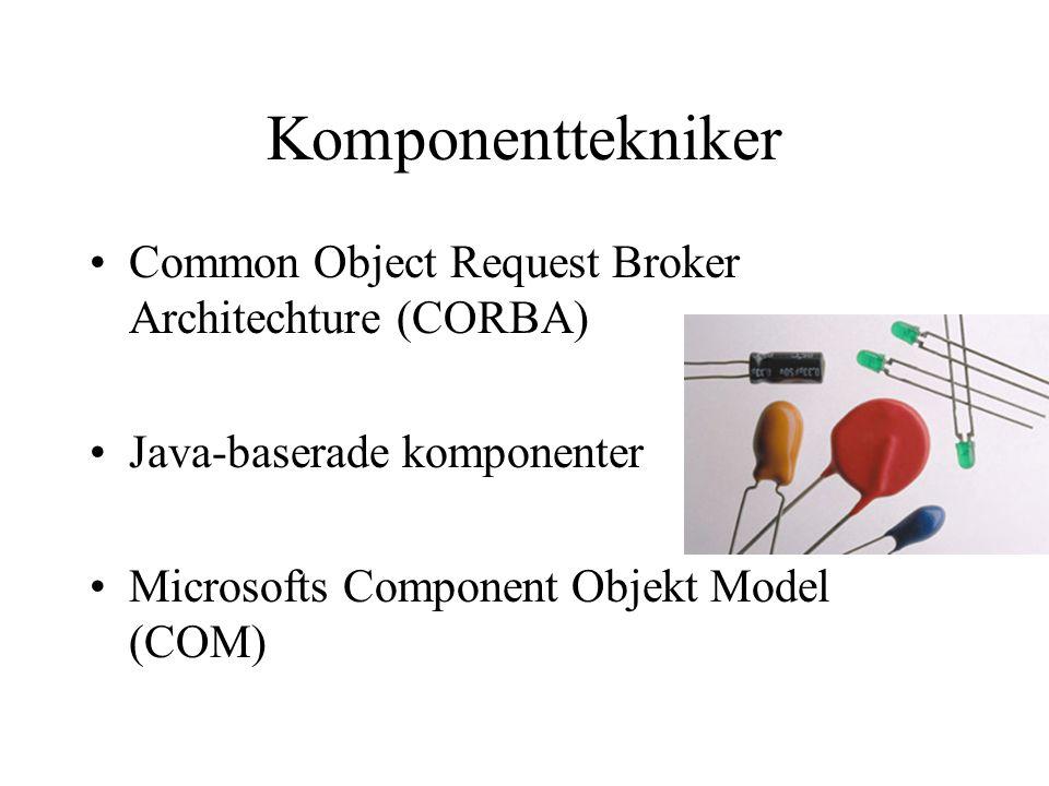 Komponenttekniker Common Object Request Broker Architechture (CORBA) Java-baserade komponenter Microsofts Component Objekt Model (COM)