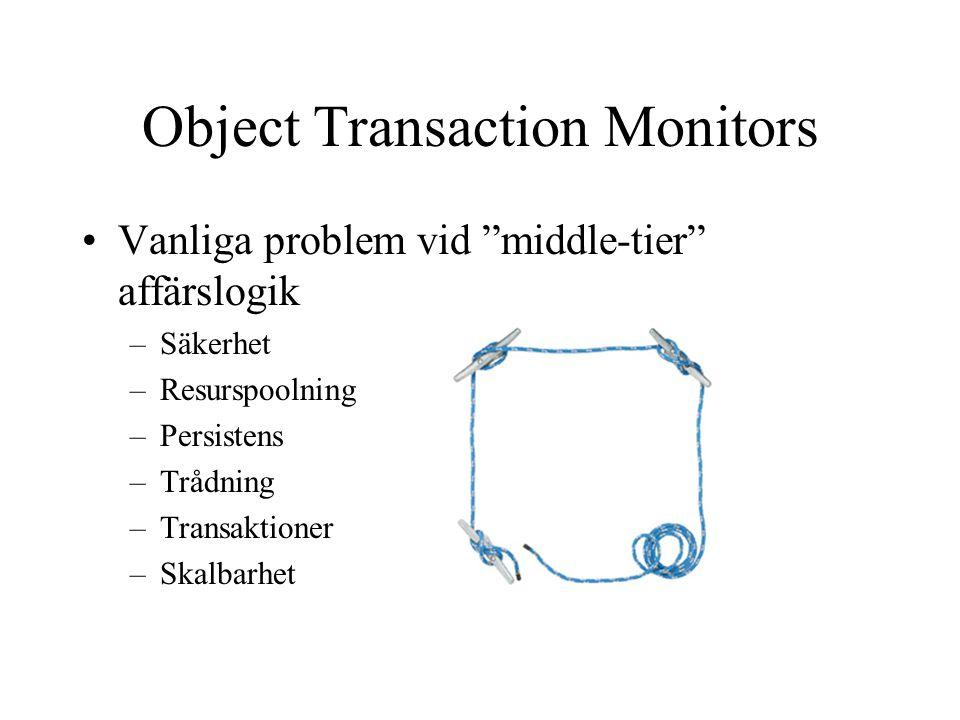 """Object Transaction Monitors Vanliga problem vid """"middle-tier"""" affärslogik –Säkerhet –Resurspoolning –Persistens –Trådning –Transaktioner –Skalbarhet"""