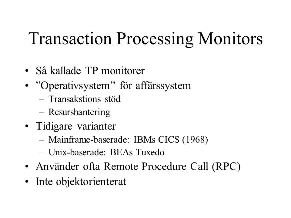 """Transaction Processing Monitors Så kallade TP monitorer """"Operativsystem"""" för affärssystem –Transakstions stöd –Resurshantering Tidigare varianter –Mai"""
