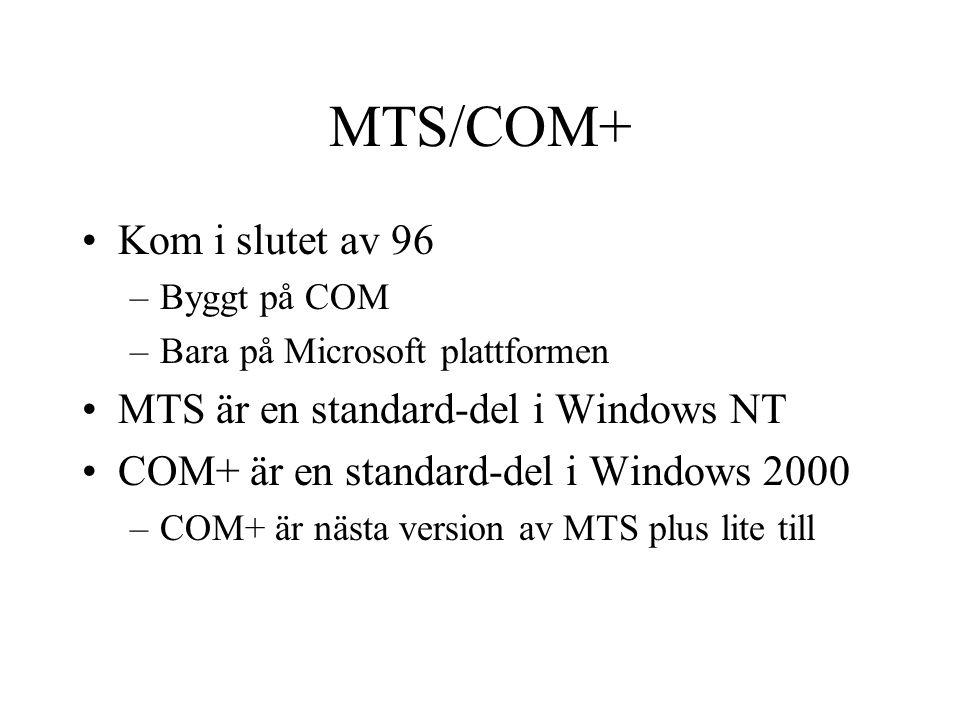 MTS/COM+ Kom i slutet av 96 –Byggt på COM –Bara på Microsoft plattformen MTS är en standard-del i Windows NT COM+ är en standard-del i Windows 2000 –C