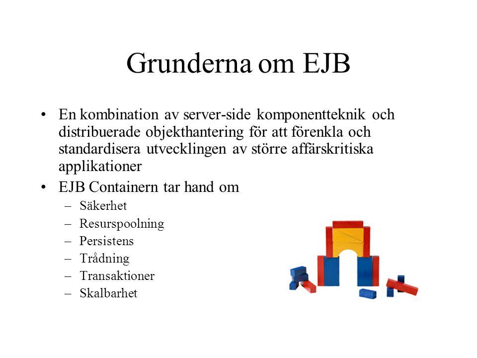 Grunderna om EJB En kombination av server-side komponentteknik och distribuerade objekthantering för att förenkla och standardisera utvecklingen av st