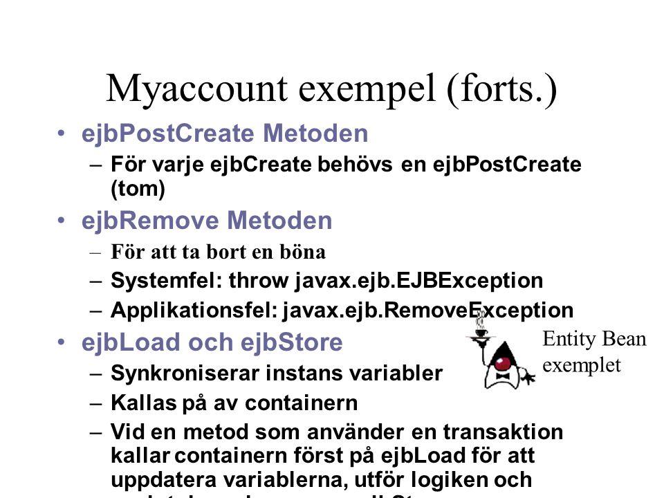 Myaccount exempel (forts.) ejbPostCreate Metoden –För varje ejbCreate behövs en ejbPostCreate (tom) ejbRemove Metoden –För att ta bort en böna –System