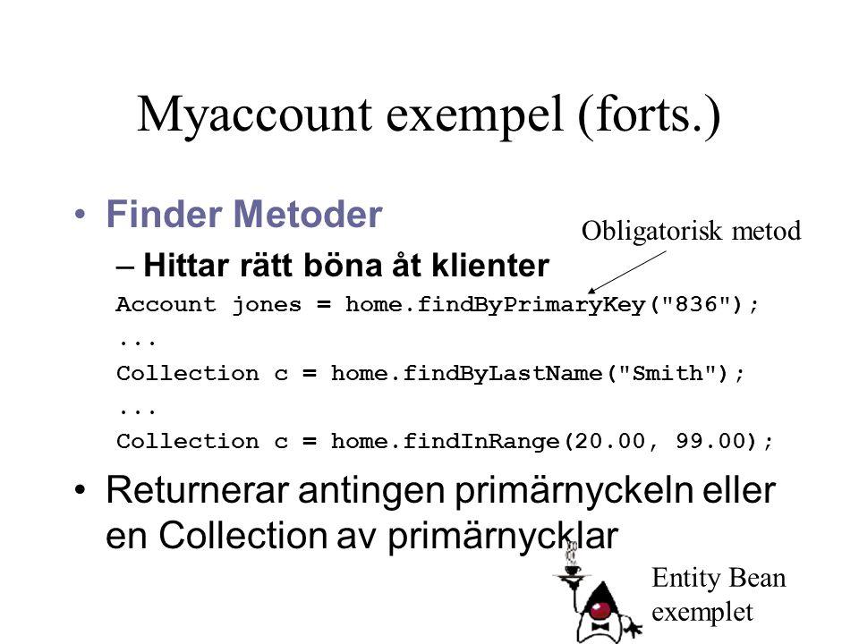 Myaccount exempel (forts.) Finder Metoder –Hittar rätt böna åt klienter Account jones = home.findByPrimaryKey(