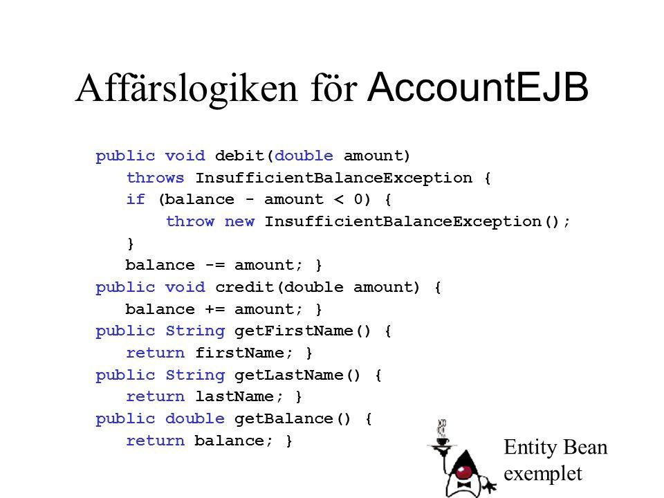 Affärslogiken för AccountEJB public void debit(double amount) throws InsufficientBalanceException { if (balance - amount < 0) { throw new Insufficient