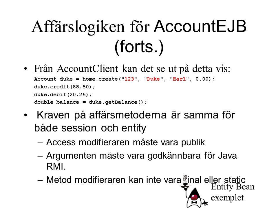 Affärslogiken för AccountEJB (forts.) Från AccountClient kan det se ut på detta vis: Account duke = home.create(