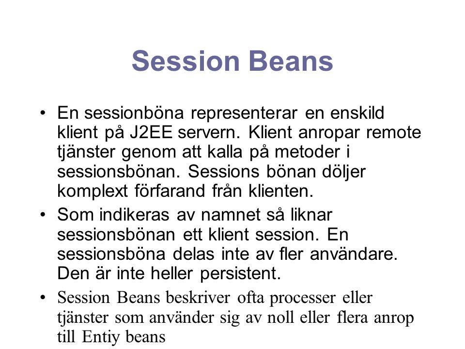Session Beans En sessionböna representerar en enskild klient på J2EE servern. Klient anropar remote tjänster genom att kalla på metoder i sessionsböna