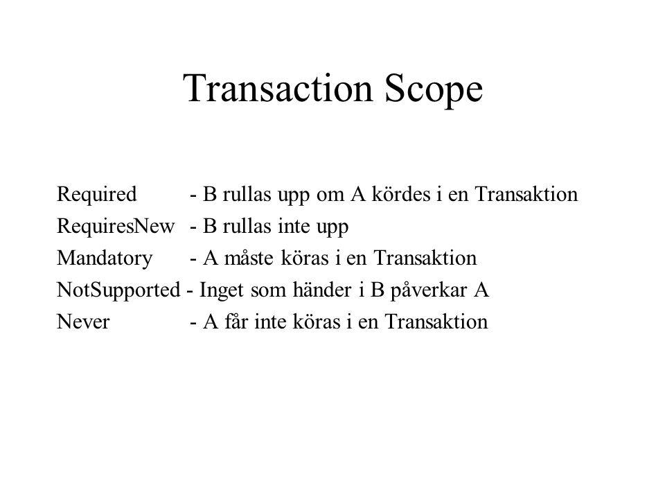 Transaction Scope Required- B rullas upp om A kördes i en Transaktion RequiresNew- B rullas inte upp Mandatory - A måste köras i en Transaktion NotSup