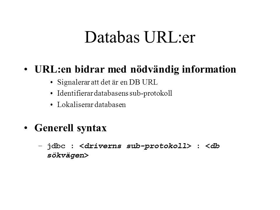 Databas URL:er URL:en bidrar med nödvändig information Signalerar att det är en DB URL Identifierar databasens sub-protokoll Lokaliserar databasen Gen