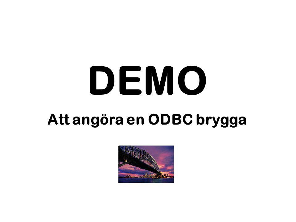 DEMO Att angöra en ODBC brygga