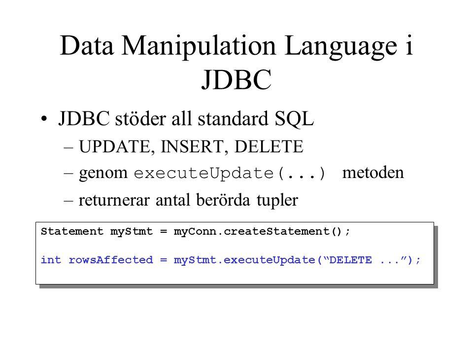 Data Manipulation Language i JDBC JDBC stöder all standard SQL –UPDATE, INSERT, DELETE –genom executeUpdate(...) metoden –returnerar antal berörda tup