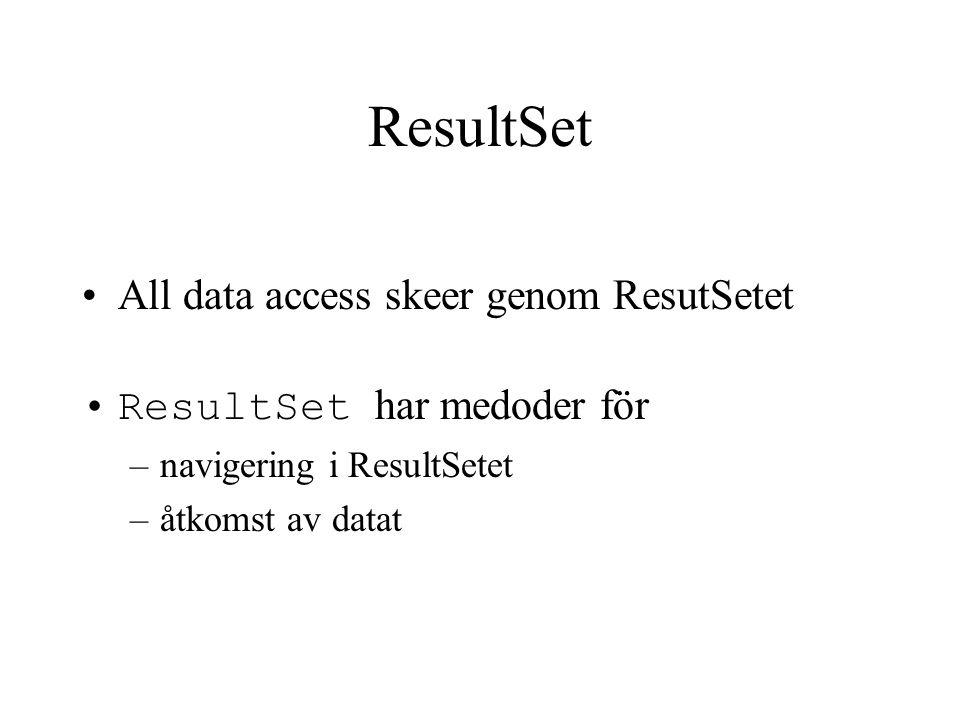 ResultSet All data access skeer genom ResutSetet ResultSet har medoder för –navigering i ResultSetet –åtkomst av datat