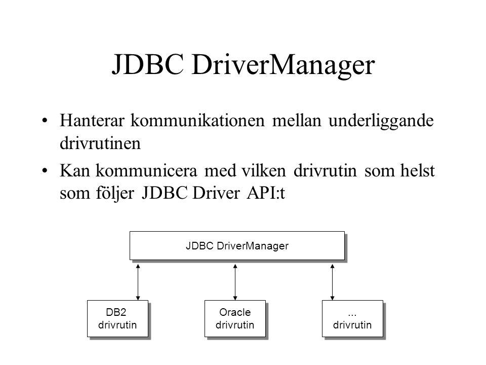 JDBC drivrutiner Tillhandahåller en länk mellan applikationen och den underliggande databasen/ alternativt flera underliggande databaser –Följer ofta med DB eller finns även från tredje part samt medföljande exempel Man talar om fyra olika typer av drivrutiner Mixad Java och native Typ 1 och 2 –Typ 1: JDBC/ODBC Bridge Driver