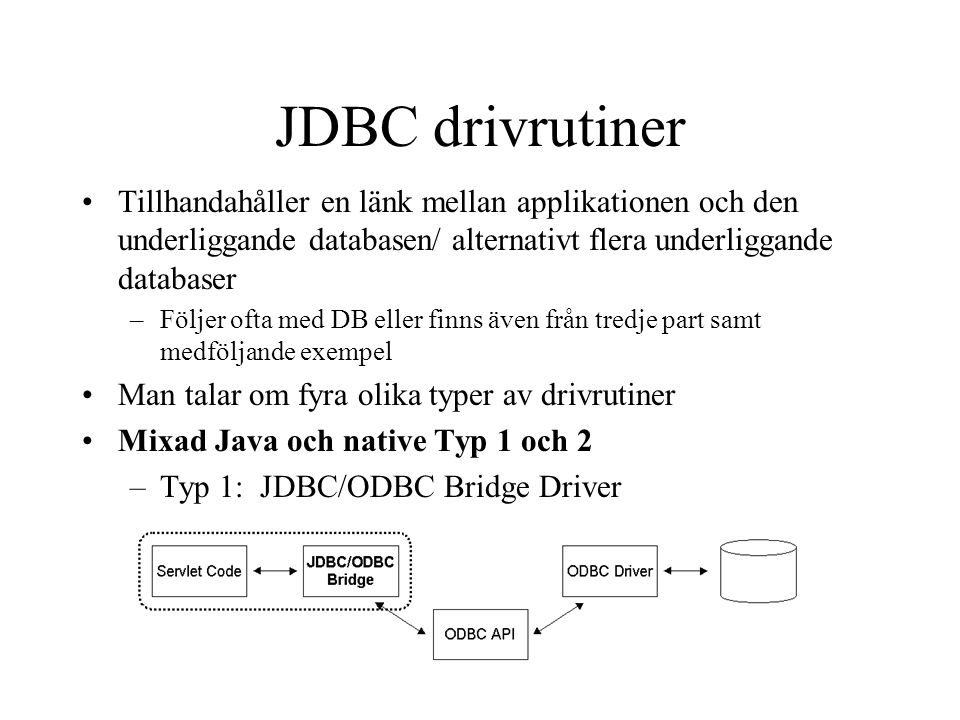 –Typ 2: JDBC/Native API Driver Rena Java lösningar –Typ 3: JDBC Nät Protokoll Driver –Typ 4: JDBC Native Protokoll Driver vendor specific protocol JDBC Drivrutiner (forts…)