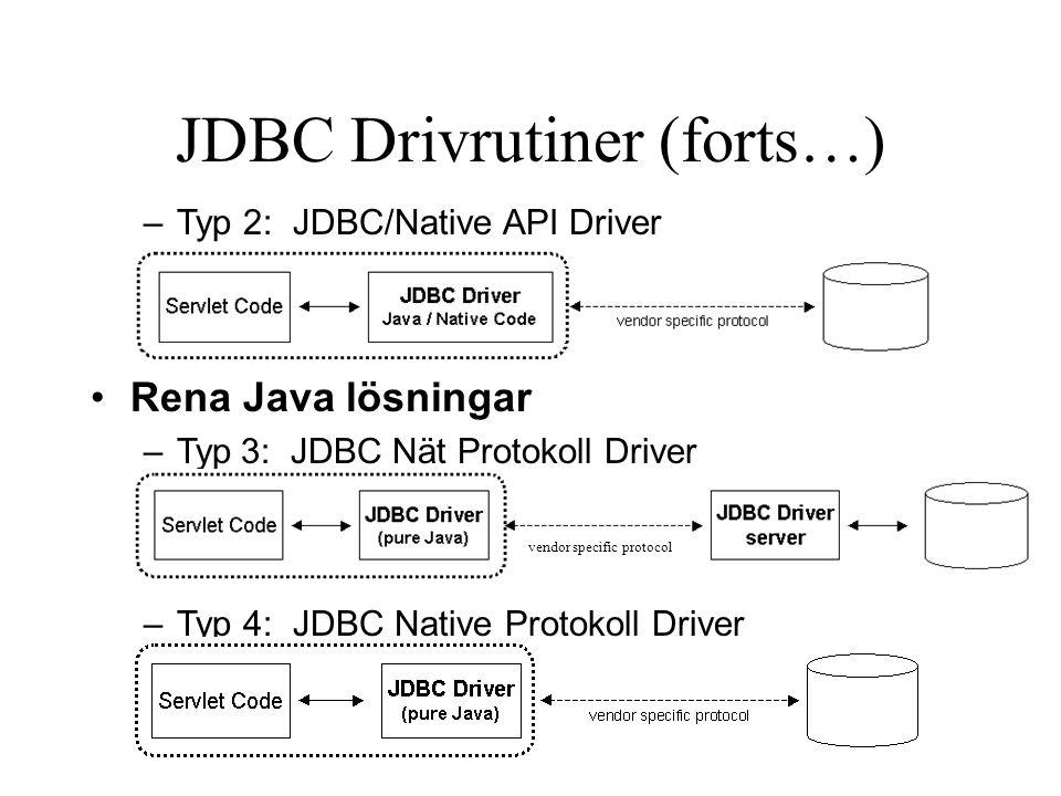 Transaktions stöd (forts) Connection har en metod setAutoCommit(boolean autoCommit) try { db.setAutoCommit(false); Statement s = db.createStatement(); … s.executeUpdate( INSERT INTO glTable VALUES('1001',-100 ); int tran1 = s.getUpdateCount(); s.executeUpdate( INSERT INTO glTable VALUES('1002',100 ); int tran2 = s.getUpdateCount(); if((tran1 == 1) && (tran2 == 1)) { db.commit(); } else { db.rollback(); } try { db.setAutoCommit(false); Statement s = db.createStatement(); … s.executeUpdate( INSERT INTO glTable VALUES('1001',-100 ); int tran1 = s.getUpdateCount(); s.executeUpdate( INSERT INTO glTable VALUES('1002',100 ); int tran2 = s.getUpdateCount(); if((tran1 == 1) && (tran2 == 1)) { db.commit(); } else { db.rollback(); }