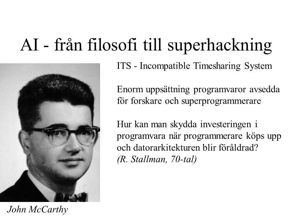 AI - från filosofi till superhackning ITS - Incompatible Timesharing System Enorm uppsättning programvaror avsedda för forskare och superprogrammerare Hur kan man skydda investeringen i programvara när programmerare köps upp och datorarkitekturen blir föråldrad.