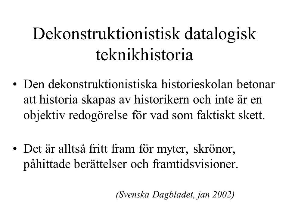 Dekonstruktionistisk datalogisk teknikhistoria Den dekonstruktionistiska historieskolan betonar att historia skapas av historikern och inte är en objektiv redogörelse för vad som faktiskt skett.