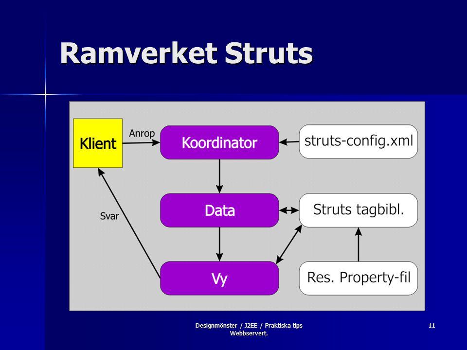 Designmönster / J2EE / Praktiska tips Webbservert. 11 Ramverket Struts