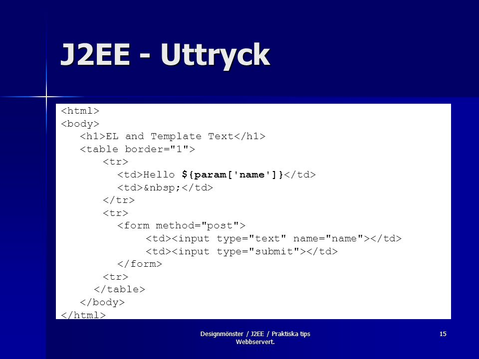 Designmönster / J2EE / Praktiska tips Webbservert. 15 J2EE - Uttryck EL and Template Text Hello ${param['name']}