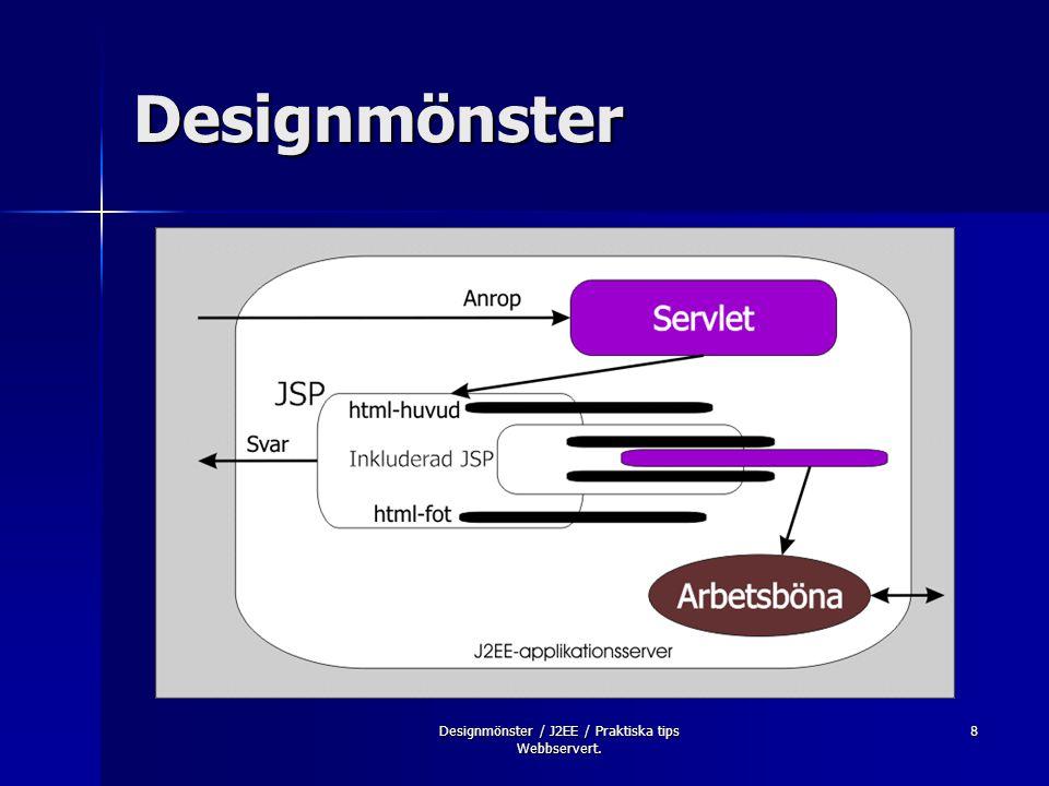9 Designmönster Sidoorienterade Sidoorienterade –Page-View –Page-View + Bean Förmedlingsorienterade Förmedlingsorienterade –Mediator-View –Mediator-Composite View –Service-To-Workers