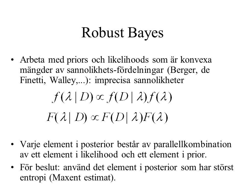 Robust Bayes Arbeta med priors och likelihoods som är konvexa mängder av sannolikhets-fördelningar (Berger, de Finetti, Walley,...): imprecisa sannolikheter Varje element i posterior består av parallellkombination av ett element i likelihood och ett element i prior.