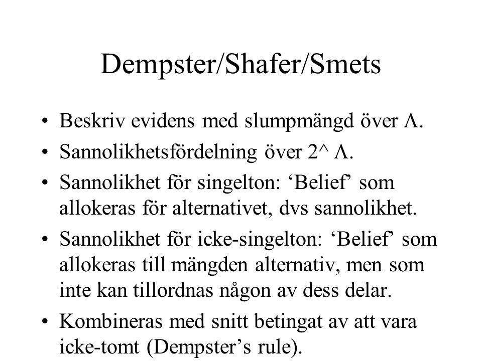 Dempster/Shafer/Smets Beskriv evidens med slumpmängd över .