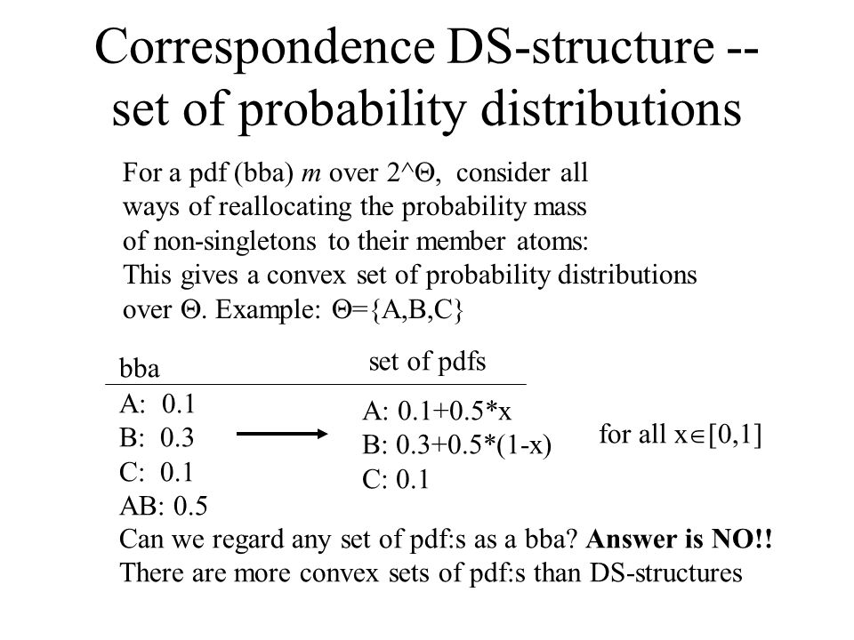 Correspondence DS-structure -- set of probability distributions For a pdf (bba) m over 2^ , consider all ways of reallocating the probability mass of non-singletons to their member atoms: This gives a convex set of probability distributions over .