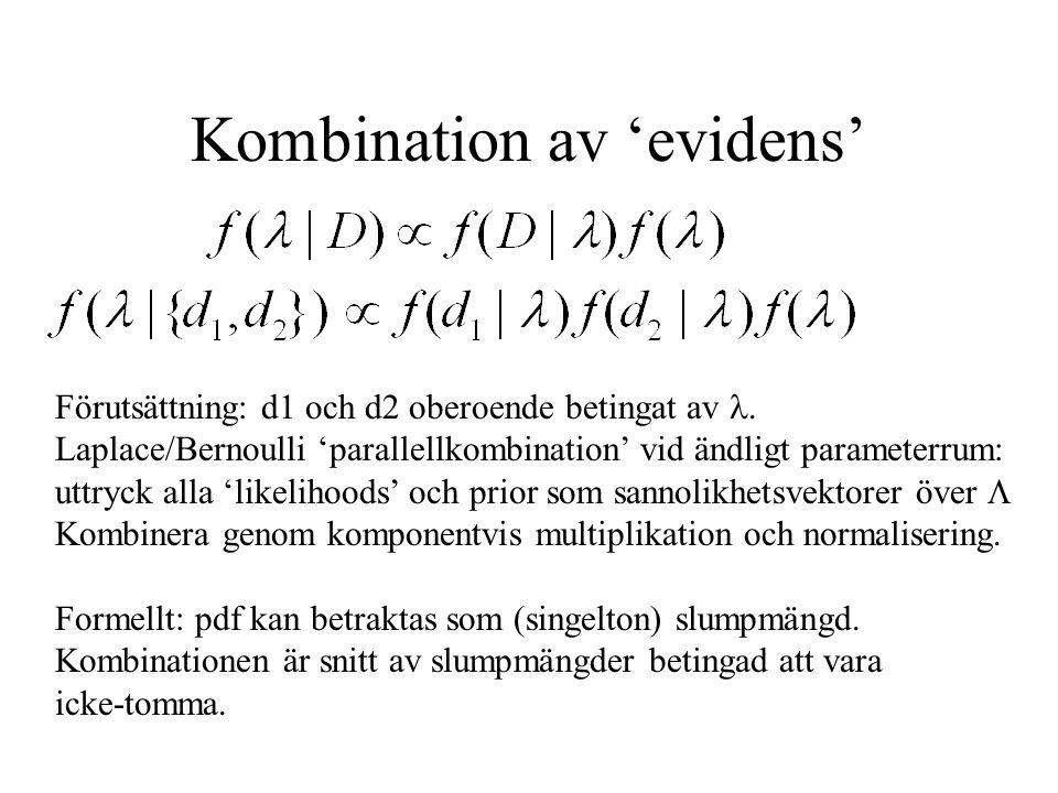 Kombination av 'evidens' Förutsättning: d1 och d2 oberoende betingat av.