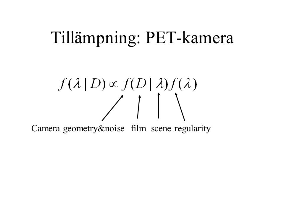 Tillämpning: PET-kamera Camera geometry&noise film scene regularity