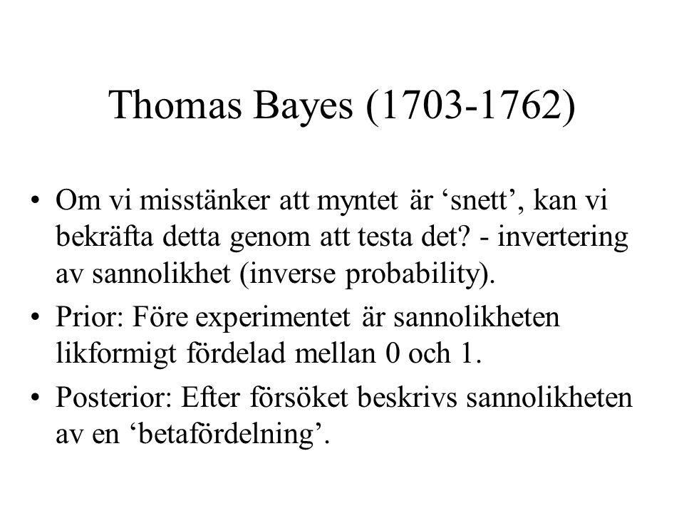Thomas Bayes (1703-1762) Om vi misstänker att myntet är 'snett', kan vi bekräfta detta genom att testa det.