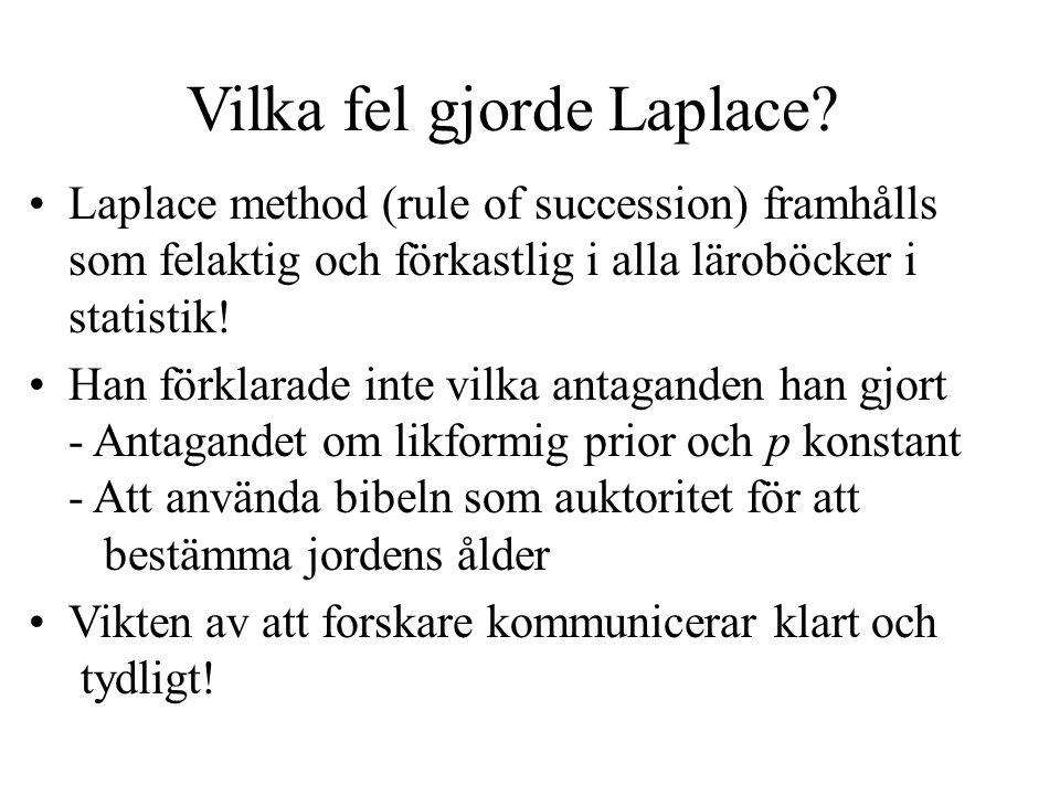 Vilka fel gjorde Laplace.