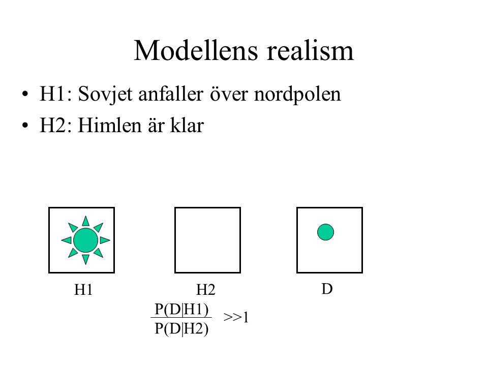 Modellens realism H1: Sovjet anfaller över nordpolen H2: Himlen är klar H1H2 D P(D|H1) P(D|H2) >>1