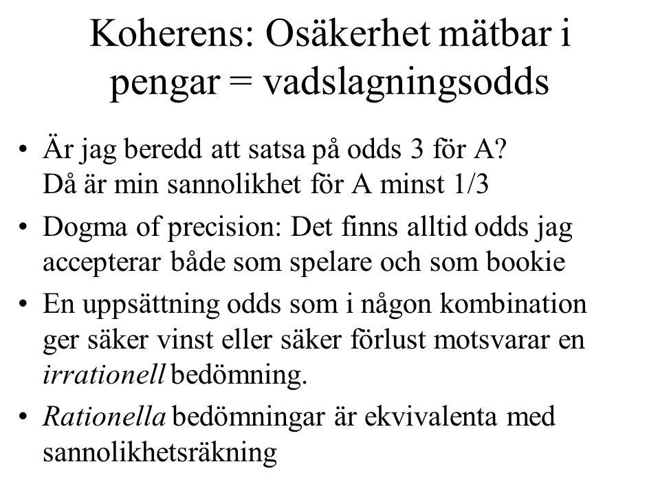 Koherens: Osäkerhet mätbar i pengar = vadslagningsodds Är jag beredd att satsa på odds 3 för A.