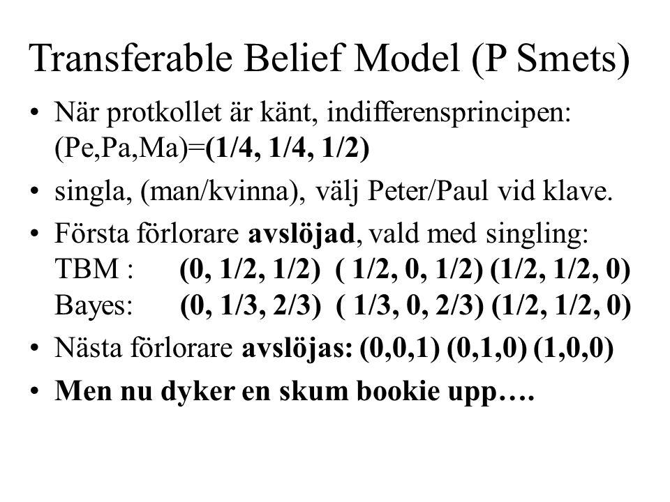 Transferable Belief Model (P Smets) När protkollet är känt, indifferensprincipen: (Pe,Pa,Ma)=(1/4, 1/4, 1/2) singla, (man/kvinna), välj Peter/Paul vid klave.
