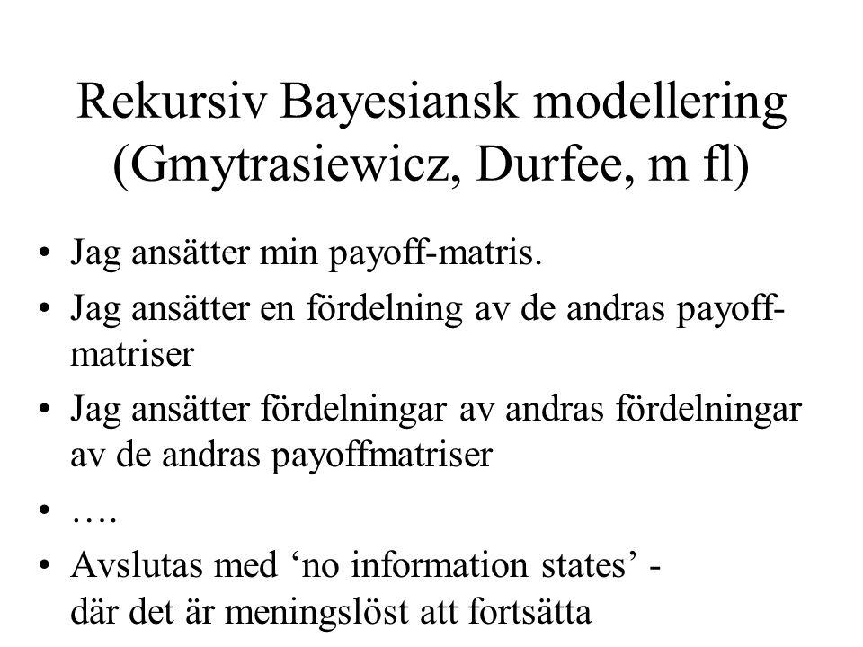 Rekursiv Bayesiansk modellering (Gmytrasiewicz, Durfee, m fl) Jag ansätter min payoff-matris.