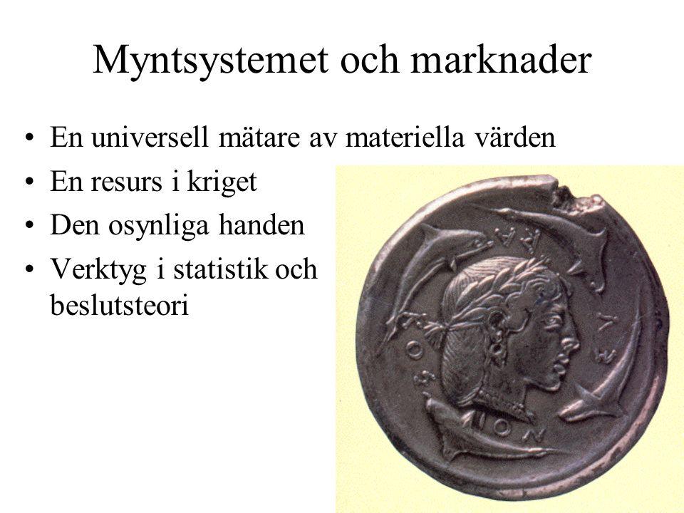 Myntsystemet och marknader En universell mätare av materiella värden En resurs i kriget Den osynliga handen Verktyg i statistik och beslutsteori