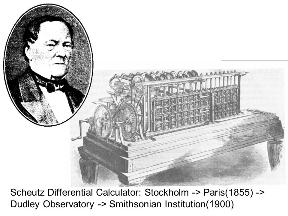Scheutz Differential Calculator: Stockholm -> Paris(1855) -> Dudley Observatory -> Smithsonian Institution(1900)