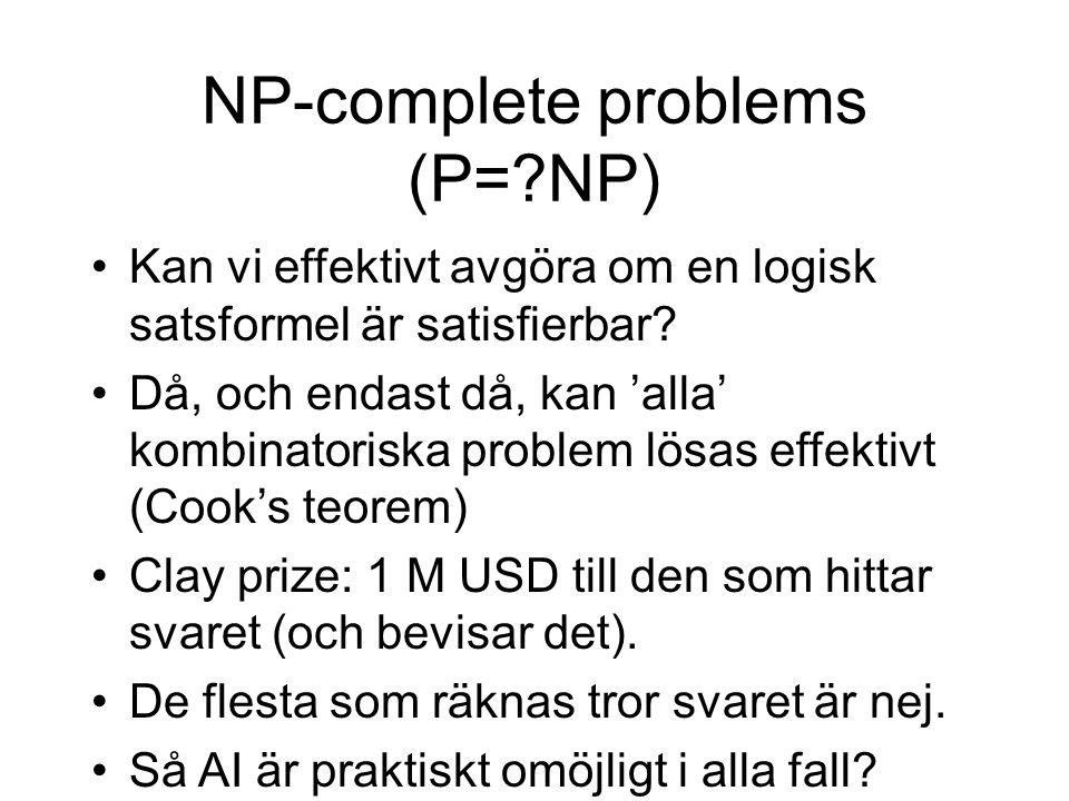 NP-complete problems (P=?NP) Kan vi effektivt avgöra om en logisk satsformel är satisfierbar.