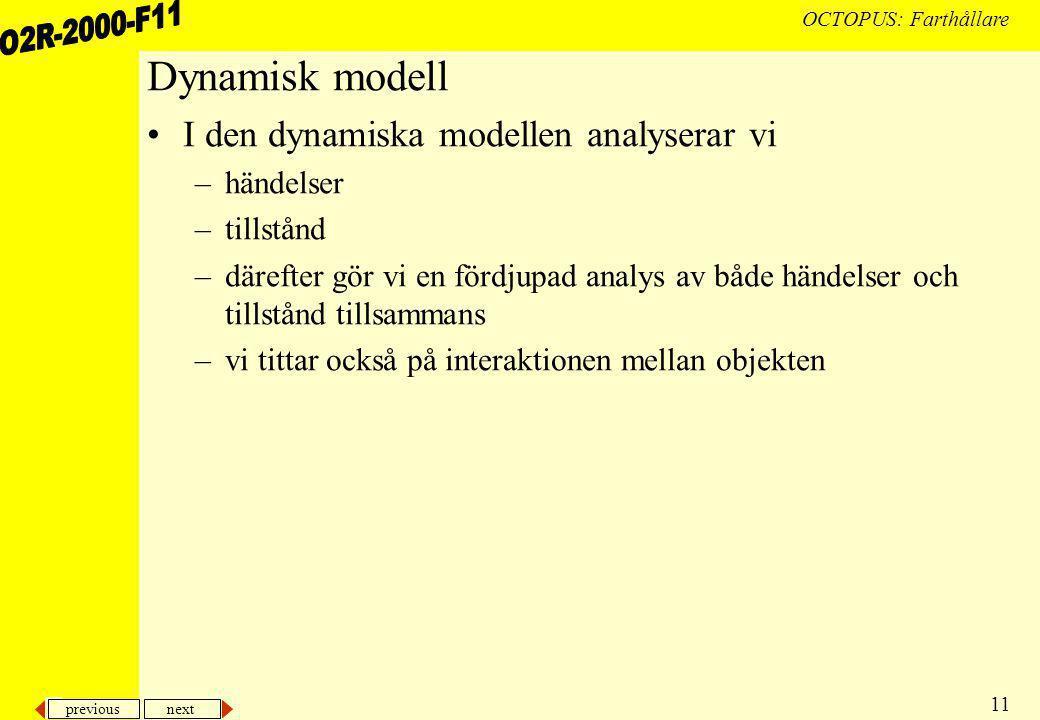 previous next 11 OCTOPUS: Farthållare Dynamisk modell I den dynamiska modellen analyserar vi –händelser –tillstånd –därefter gör vi en fördjupad analys av både händelser och tillstånd tillsammans –vi tittar också på interaktionen mellan objekten