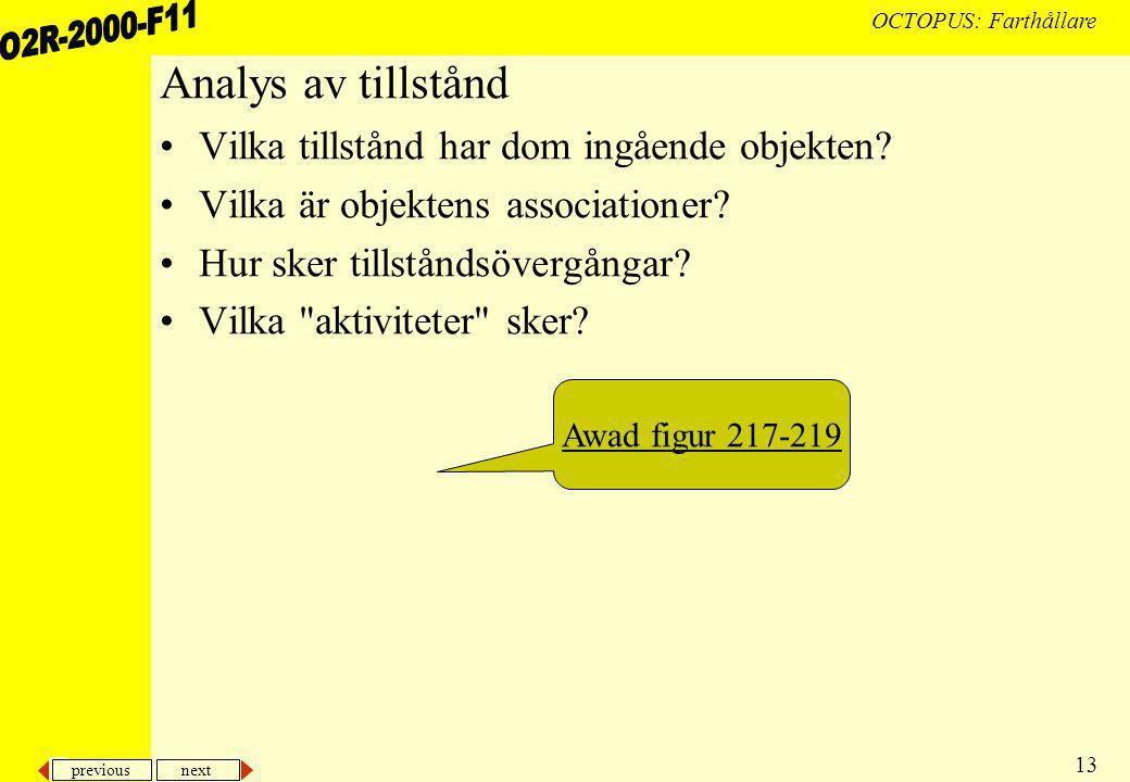 previous next 13 OCTOPUS: Farthållare Analys av tillstånd Vilka tillstånd har dom ingående objekten.