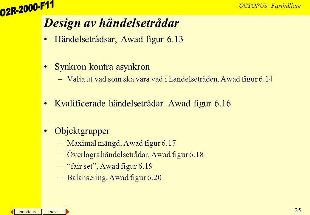 previous next 25 OCTOPUS: Farthållare Design av händelsetrådar Händelsetrådsar, Awad figur 6.13 Synkron kontra asynkron –Välja ut vad som ska vara vad i händelsetråden, Awad figur 6.14 Kvalificerade händelsetrådar, Awad figur 6.16 Objektgrupper –Maximal mängd, Awad figur 6.17 –Överlagra händelsetrådar, Awad figur 6.18 – fair set , Awad figur 6.19 –Balansering, Awad figur 6.20