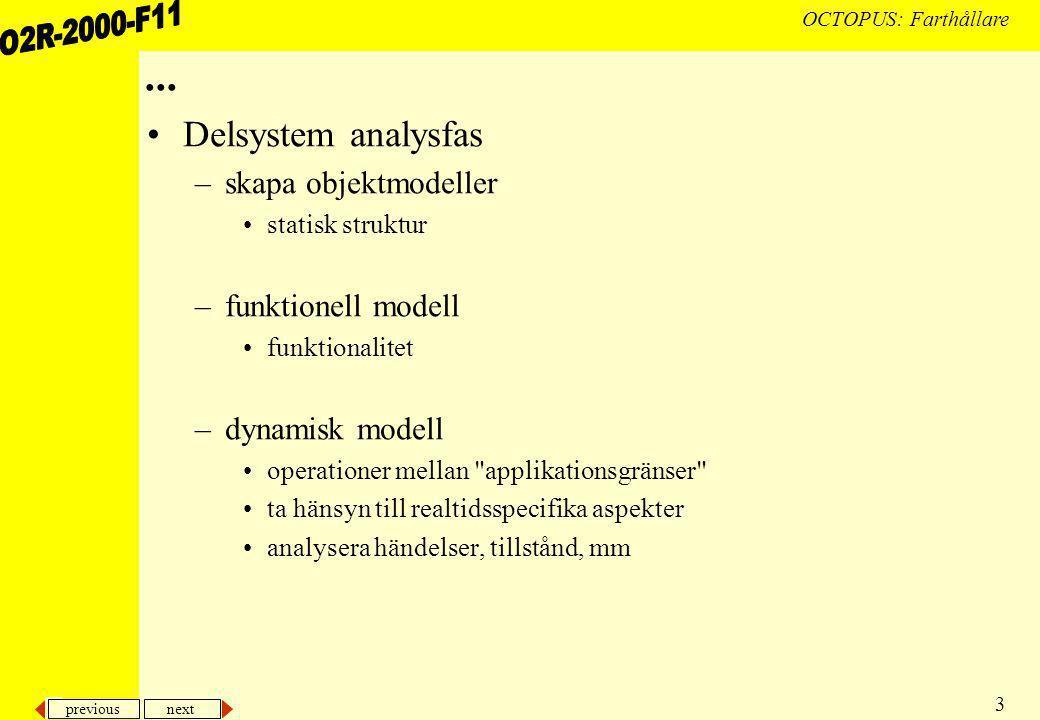 previous next 4 OCTOPUS: Farthållare... Delsystem designfas Delsystem implementationsfas