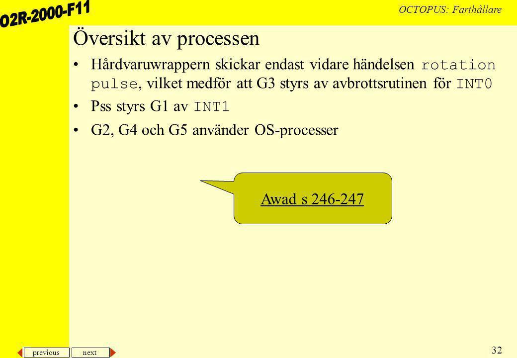 previous next 32 OCTOPUS: Farthållare Översikt av processen Hårdvaruwrappern skickar endast vidare händelsen rotation pulse, vilket medför att G3 styrs av avbrottsrutinen för INT0 Pss styrs G1 av INT1 G2, G4 och G5 använder OS-processer Awad s 246-247