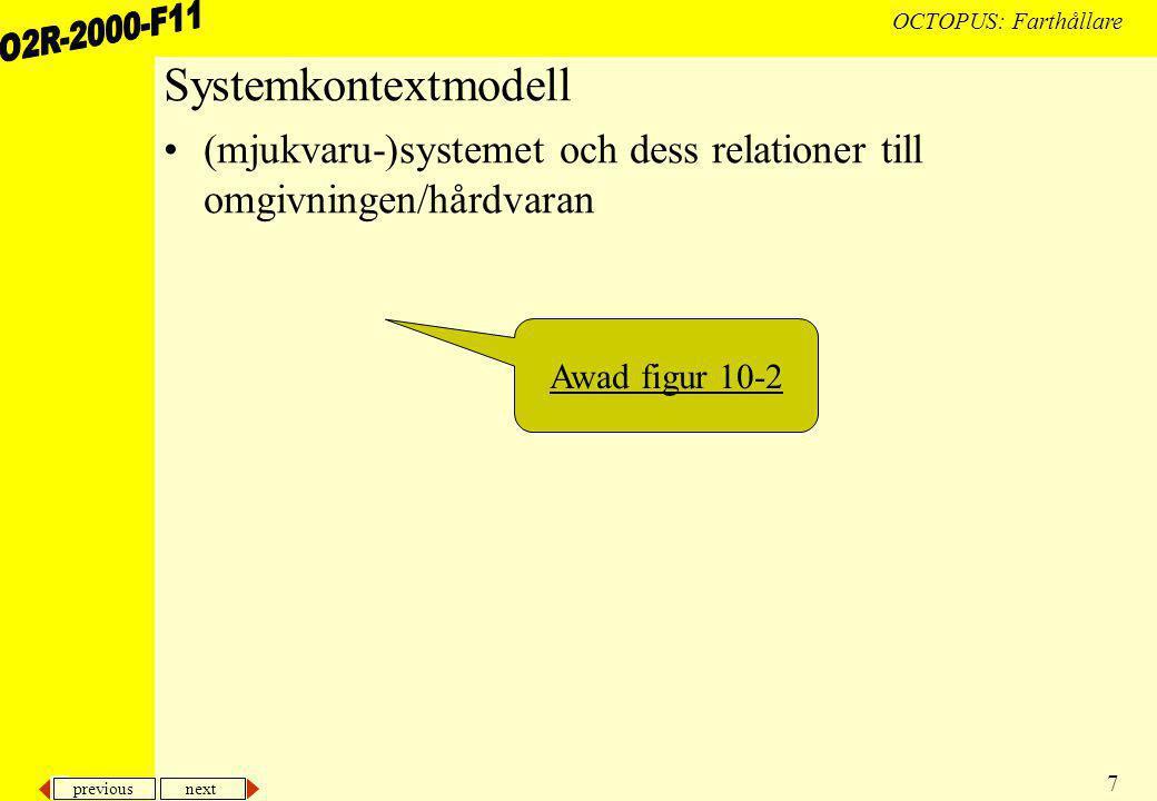 previous next 7 OCTOPUS: Farthållare Systemkontextmodell (mjukvaru-)systemet och dess relationer till omgivningen/hårdvaran Awad figur 10-2