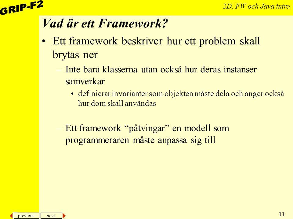 previous next 11 2D, FW och Java intro Vad är ett Framework.