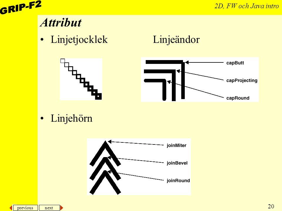 previous next 20 2D, FW och Java intro Attribut Linjetjocklek Linjeändor Linjehörn