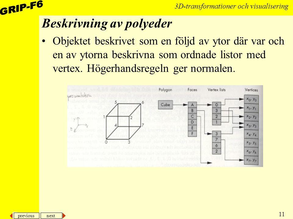 previous next 11 3D-transformationer och visualisering Beskrivning av polyeder Objektet beskrivet som en följd av ytor där var och en av ytorna beskri