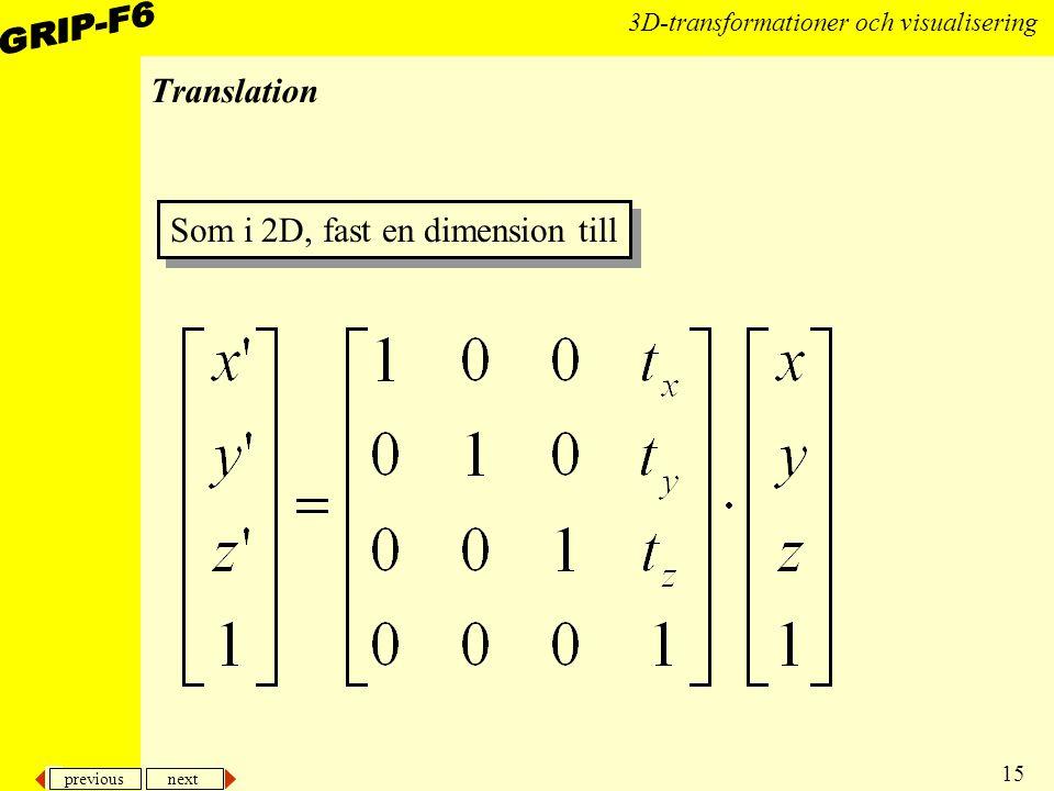 previous next 15 3D-transformationer och visualisering Translation Som i 2D, fast en dimension till