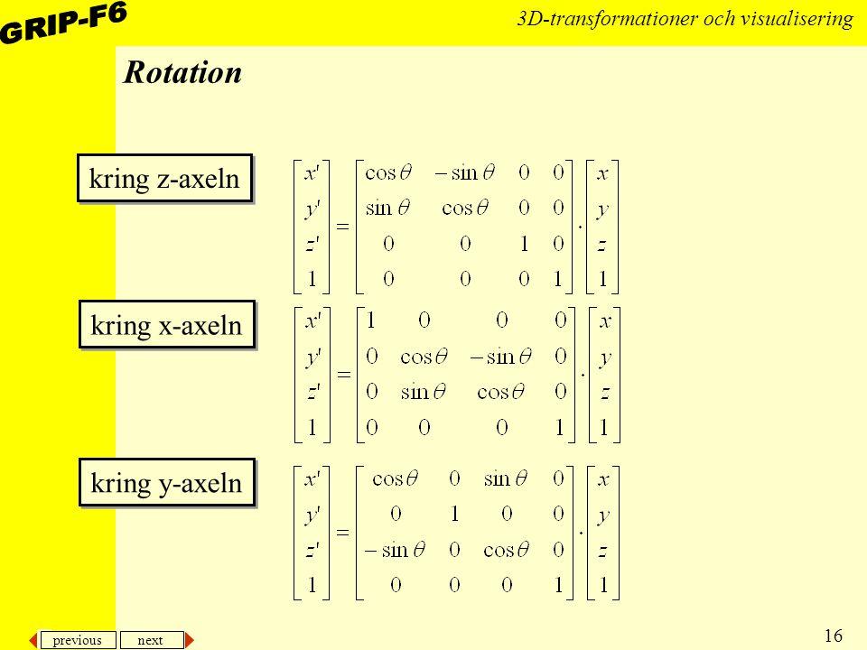 previous next 16 3D-transformationer och visualisering Rotation kring z-axeln kring x-axeln kring y-axeln