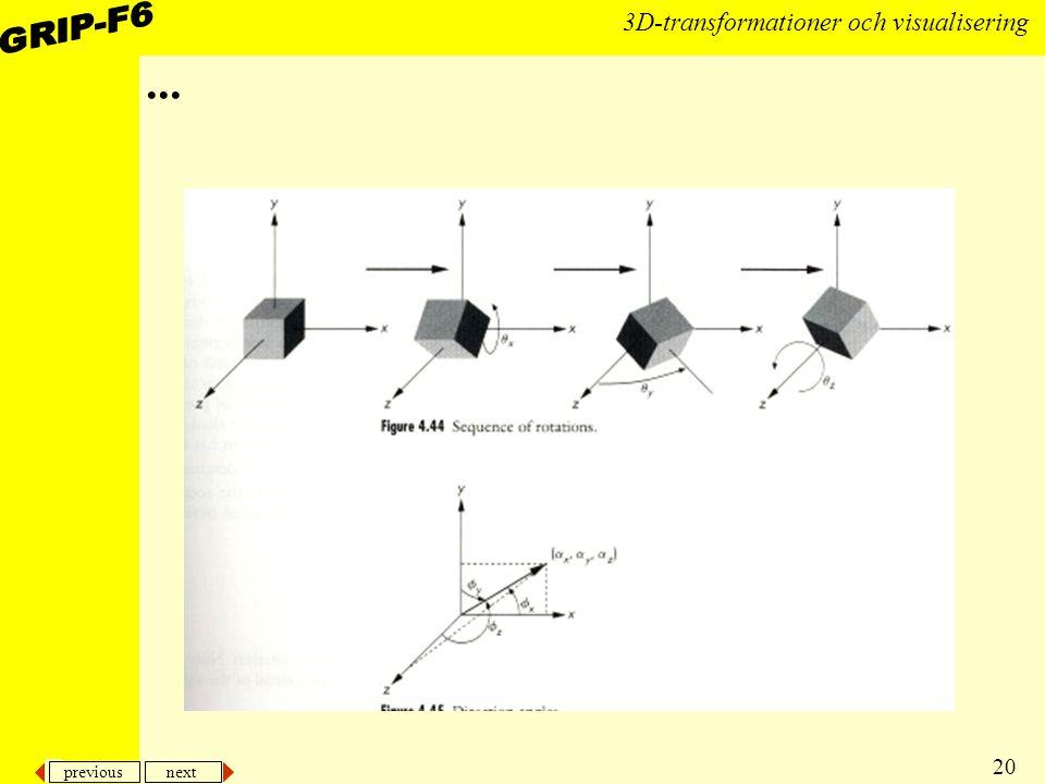 previous next 20 3D-transformationer och visualisering...