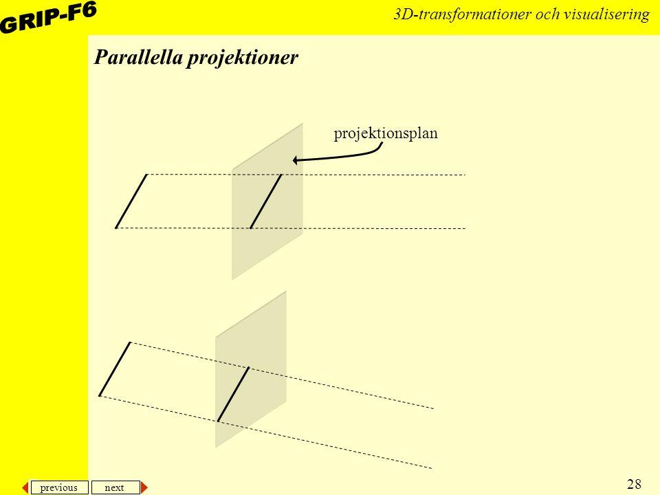previous next 28 3D-transformationer och visualisering Parallella projektioner projektionsplan